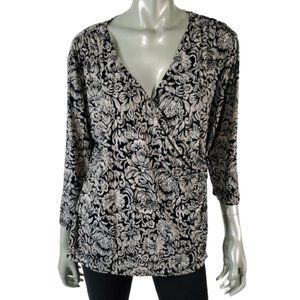 Chicos 3 Faux Wrap Top XL Pullover Stretch Black